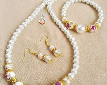 Porcelain Beads Jewelry Set, White Pearl Jewelry Set, Flower Beads Necklace, Bridal Jewelry, Bride Jewelry Set