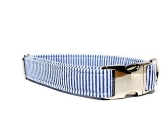 Blue and White Seersucker Dog Collar - Wedding Dog Collar - Metal Buckle Dog Collar - Blue Dog Collar - Seersucker Collar - Striped Collar