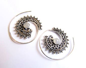 White Brass Small Dotted Design Spiral Earrings Moonstone Gemstone Tribal Earrings Mandala Jewellery Free UK Delivery Gift Boxed WB62 WBS1
