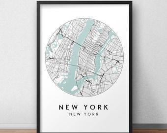 New York City Print, Street Map Art, New York Map Poster, New York Map Print, City Map Wall Art, New York Map, Travel Poster, USA