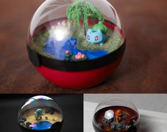 Terrarium Pokeball - Pokemon Bulbasaur, Squirtle, Charmander - diameter 12 cm
