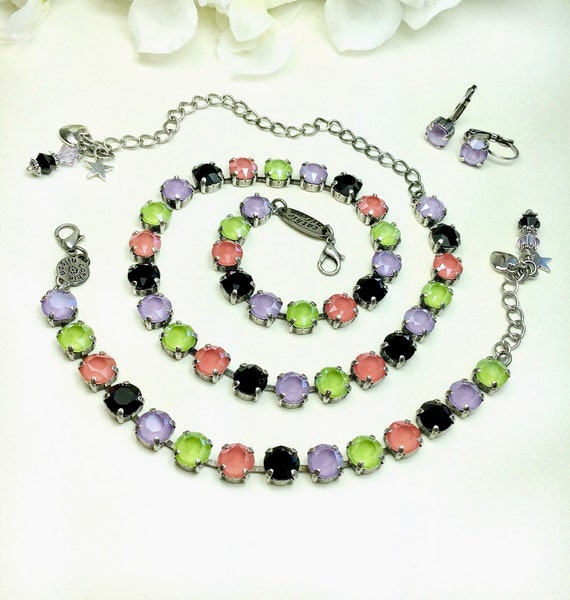 Swarovski Crystal 8.5mm Necklace - Stunning, Beautiful and Striking Jewel Tones - Lilac,Coral,Lime,Jet - Designer Inspired - FREE SHIPPING