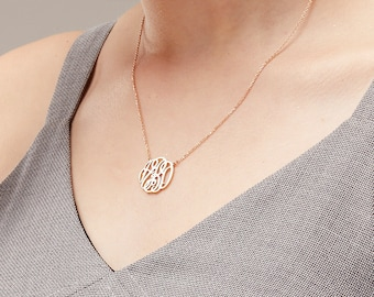 Monogram Necklace / Gold Monogram Necklace / Personalized Monogram Necklace / Bridesmaid Gift / Mother's day gift - HN01_F177