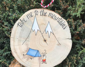 Mountain Ornament, Christmas Ornament, Wood Slice Ornament, Hiking ornament,  Ornament, Holiday ornament, Rustic Ornament,