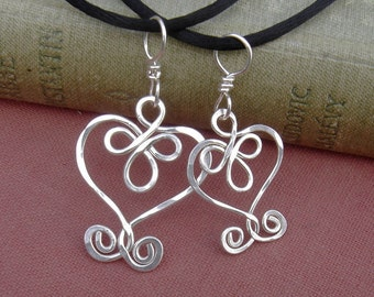 Mother Daughter Celtic Heart Pendants Set,Mother's Day Gift Celtic Jewelry Set, Matching Necklaces Sterling Silver,Wife, Mommy and Me, Women