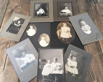 Vintage Collection of 9 Children /Baby Pictures