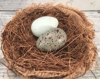 Rustic Handmade Bird Nest With Handmade Speckled Faux Eggs, Farmhouse Country Birds Eggs Craft Supply, Item #508895888
