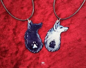 Wolf Canine Dog Head Paw Print Spirit Totem Animal Guide Black White Metal Necklace Pendant