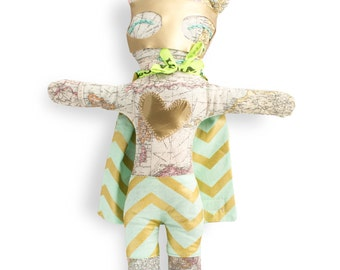 Rag doll-super hero-Mister Magellan-boy-Super Doudou for kid in world map printed cotton