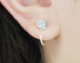 Silver Earrings, Hoop Earrings, Handmade Earrings, Silver Hoops, Topaz Gemstone Earrings, Unusual Earrings, Unique Earrings, Diamond Earring