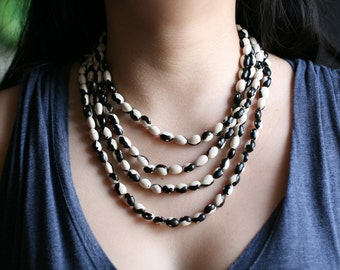 multi strand chain necklace, black and white natural bean beads