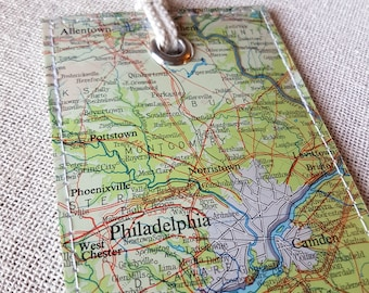 Philadelphia luggage tag made with original map