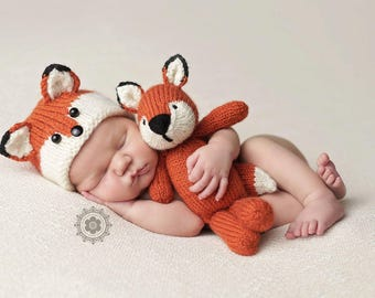 Newborn Fox Hat Photography Prop, Knitted, MADE TO ORDER