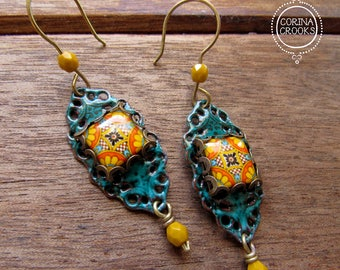 Ethnic earrings, Mexican Folk art, Filigree Earrings, Mexican jewelry, Teal enamel earrings, Statement earrings, tile earrings