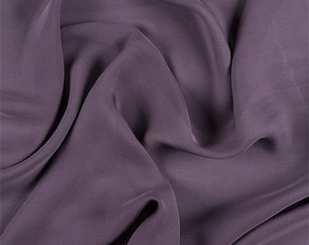Aubergine Silk Double Georgette, Fabric By The Yard