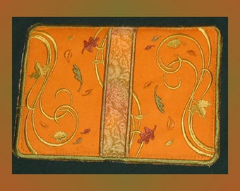 Potholder, Autumn Potholder, Fall potholder, Embroidered Potholder, autumn colors.  autumn leaves,orange,