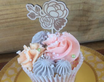 Rustic Cupcake topper - Wedding or special occasion, wood etched, floral design. SET OF 6