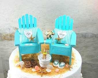 """BEACH WEDDING 6"""" Cake Topper Request Your Colors! SMALL! Best Handmade Adirondack Chairs/Custom Beverage/Custom Bouquet/More! All Handmade!"""