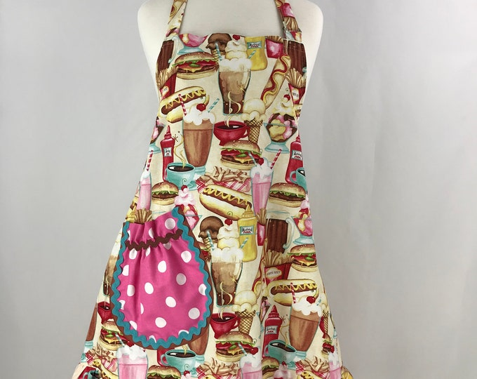 Retro Full Apron/Full Apron with Ruffles/Hot Dogs Hamburgers and Shakes Print Apron/Ruffled Full Fun Apron/Full Apron with Pink Polka Dots