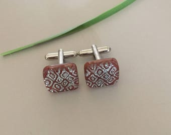 Cuff Links with Handmade Brown Silver Color Fused Dichroic Glass Bead FREE Shipping