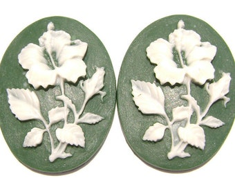 Cab Cabochon Cameo Acrylic Resin Flower White on Green, 40x30mm, 5 Qty