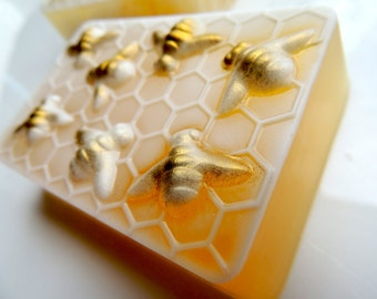 HONEY BEE SOAP, Honeycomb, Worker Bees, Personalized Custom Colored, Scented in Wild Honey, Wedding Favor