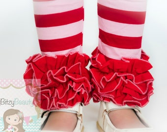 Valentines Day Ruffle Pants - Girls Ruffle Bottoms - Pink And Red Ruffles Bottoms - Ruffle Pants - Girls Pants - Pink And Red Stripe