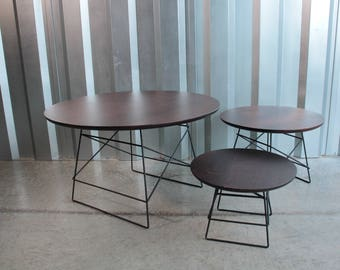 Set of three wood and iron tables
