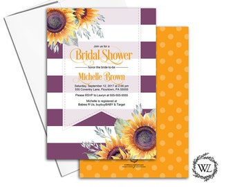 Sunflower bridal shower invitation sunflower invites, fall bridal shower invitations, purple stripe floral printable printed - WLP00651