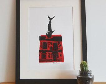 Oxford Shark House Headington Limited Edition Lino Print