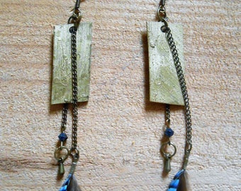 metal bronze earrings, small feathers Jay