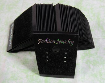50 Black Rectangle Earring Display Cards (B323)