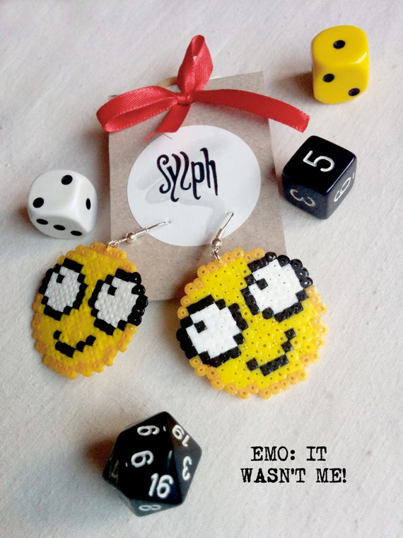 "Pixelated funny ""It wasn't me"" emoticon earrings in 8bit retro style made of Hama Mini Perler beads"