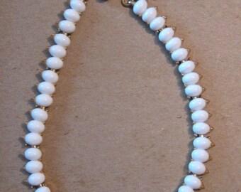 Vintage 1950s Trifari White Enamel Necklace