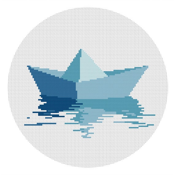 Instant Download Cross Stitch Pattern Origami Boat Pdf