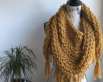 READY TO SHIP Mustard yellow Triangle fringed scarf shawl, mustard yellow triangle scarf, triangle scarf, fringe, fringe scarf, triangle fri