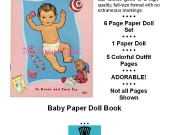 Vintage Paper Dolls _ BABY Paper Doll _ Vintage Fashion _ Paper Toy _ Paper Craft _ Collage Sheet _ PDF Digital Download BONUS How-to Guide