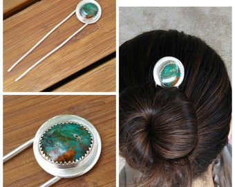 Sterling Silver and Turquoise Hair Pin - Made to Order
