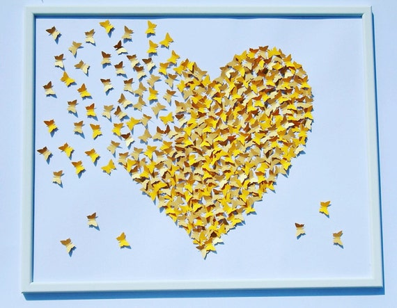 White and Yellow butterflies painting Wall ART 3D Paper