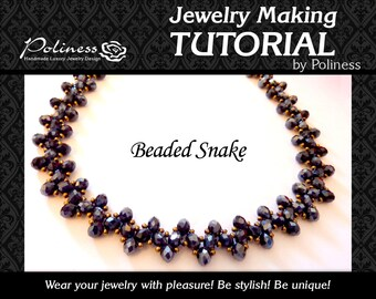 Jewellery making - Beading -  Pattern - Tutorial -  Beaded tutorial - Beaded necklace - Snake Necklace - PDF - Jewelry tutorial