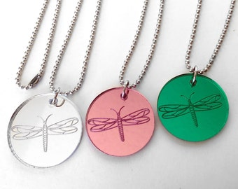 Dragonfly Necklace, Mirror Acrylic Necklace, Blue, Pink, Yellow, Silver, Green, Purple Dragonfly Pendant, Dragonfly Jewelry, Valentines Day