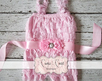 Pink Lace Romper with Sash - Lace Romper, Baby Girls 1st Birthday Outfit, Ruffle Romper, Infant Girls Rompers, Cake Smash Outfit, 3Mo-5Yr