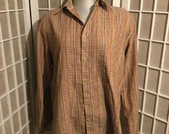 1980s Missoni Cotton Intricate Colored Plaid Collared Shirt