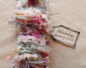 Stardust Daydream pastel rainbow glitter tinsel twine pink aqua silver trim striped garland Novelty Fiber Yarn Sampler Bundle