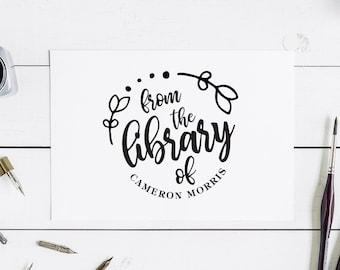From the Library of Stamp Custom Library Stamp Calligraphy Book Stamp Self Inking Library Stamp Library Stamp This Book Belongs to Stamp
