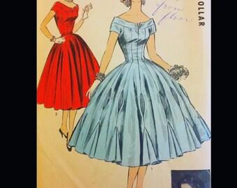 Vintage 50s Designer Battilocchi Cocktail Party Full Skirt Godets Dress Pattern Advance Import 115