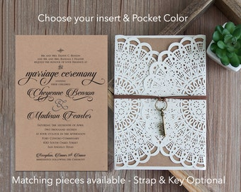 Rustic Laser Cut Wedding Invitations Rustic Wedding Die Cut Laser Cut Rustic Kraft Wedding Invites Laser Cut