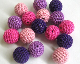 Crocheted beads 16 mm - round handmade beads, pink and purple mix, 16 pc