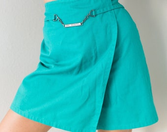 Vintage 80s 90s Green Girl Scout High Waisted Mini Skirt Shorts Skort Size Large in Girl's Perfect for Small S Waist 26 inches