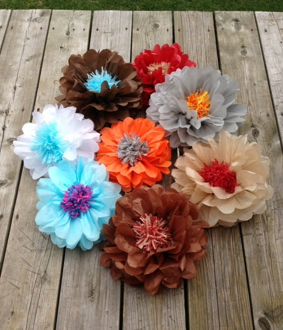 Set of 5 giants tissue paper flowers pom poms 2 in 1 birthday like this item mightylinksfo Image collections